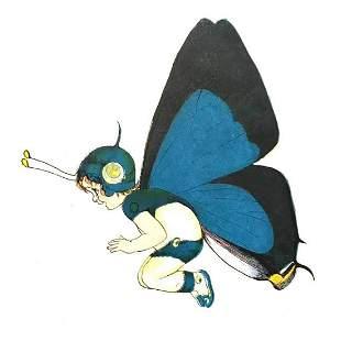 1914 Butterfly Babies Lithograph, White Hair-Streak