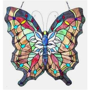 Butterfly Stained Glass Hanging Panel
