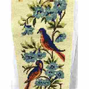 Vintage Birds Tapestry, Needlework Bell Pull, Wall