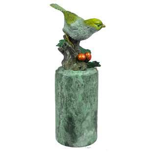 Little Yellow Bird Colored Patina Bronze Sculpture