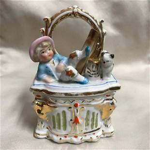 19thc German Victorian Porcelain Fairing Trinket Box,