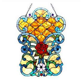 Tiffany-style Victorian Rose Stained Glass Window Panel