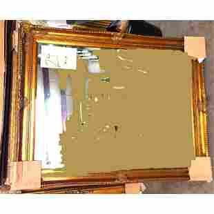Ornate Antique Style Gilt Wood Beveled Mirror