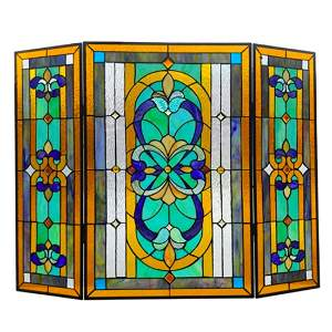 Stained Art Glass Folding Fireplace Screen