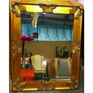 Florentine Style Ornate Gold Gilt Wooden Beveled Mirror