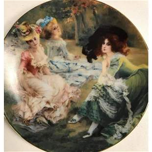 Limoges Porcelain Plate, Elegant Rococo Ladies