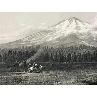 19thc Steel Engraving, Mount Shasta Washington