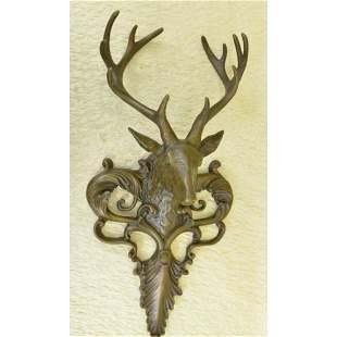 Elk Deer Hunting Lodge Bronze Sculpture