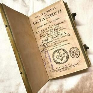 17thc Vellum Bound Latin Book, Meditationes Gesta