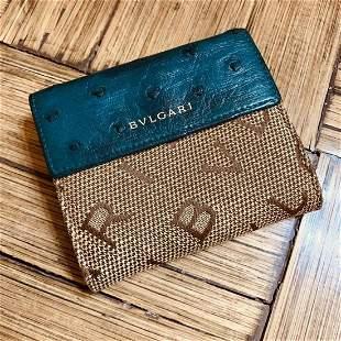 Vintage Designer Bvlgari Ostrich Leather Bi-fold Wallet