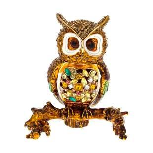 Jeweled Owl Trinket Jewelry Box