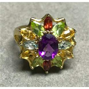 Multi-gemstone Sterling Cocktail Ring