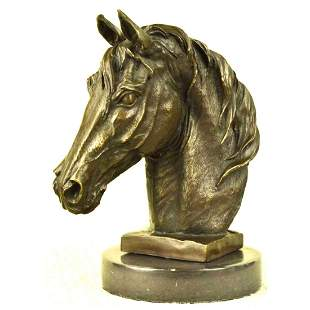 Bronze Horse Head Equestrian Sculpture