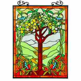 Fruits of Life Stained Art Glass Hanging Window Panel