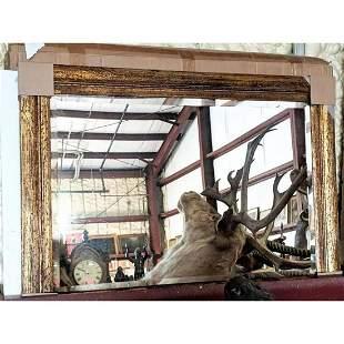 Gilt Wood-Grain Rustic-Style Beveled Mirror