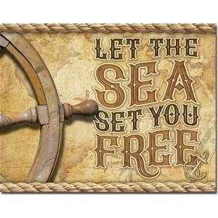 """Let The Sea Set You Free"" Metal Pub Bar Sign"