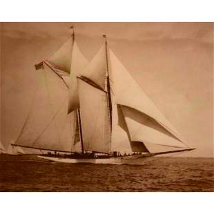 Schooner Yacht America in Vineyard Sound Sepia Tone