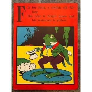 Early 1900's Animal ABC Book Frog Print