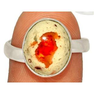 Mexican Fire Opal & Sterling Silver Ring