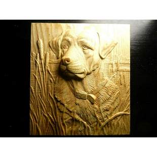 Hunting Dog & Cattails Carved Wooden Plaque