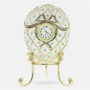 Faberge Inspired Russian Trinket Box, Clock Jeweled Egg
