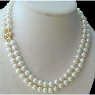 2 Row 8-9mm Akoya White Pearl Necklace 14k Clasp