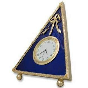 Blue Triangle Enameled Guilloche Russian Clock