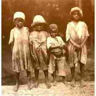 African American History, Four Children On Log Sepia