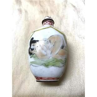 Oriental Enameled Copper Erotic Scenes Snuff Bottle