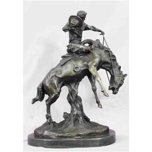 Western Cowboy Bucking Horse Bronze Sculpture
