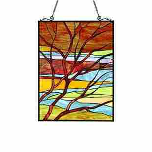 Dusk Landscape Stained Glass Hanging Panel
