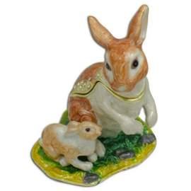 Spring Rabbits, Bunny Family Trinket Jewel Box