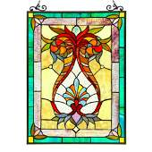 Stained Art Glass Hanging Window Panel