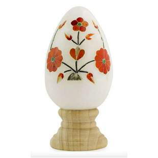 Hand-carved Marble & Inlaid Floral Gemstone Egg & Stand