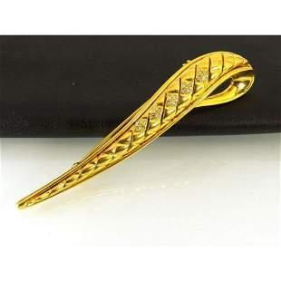 Designer Pierre BALMAIN Gold Plated Brooch Pin
