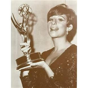 Barbra Streisand Holding Award c.1960's Sepia Photo