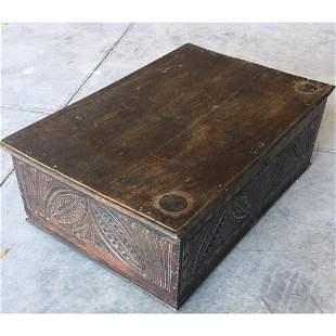 th - 18thc English Carved Oak Cromwellian Coffer,