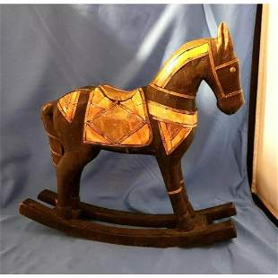 Vintage Decorative Wood & Brass Rocking Horse
