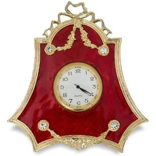 Russian Red Enameled Guilloche Desk Clock