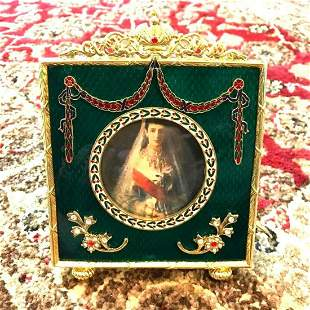 Russian Faberge-Style Green Enameled Guilloche