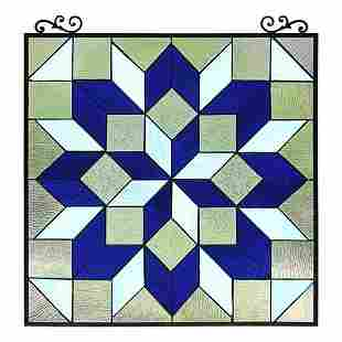 Geometric Cubist Design Stained Art Glass Hanging