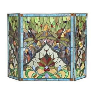 Tiffany Victorian-style Dragonfly Folding Fireplace
