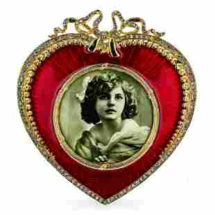 Lovely Red Heart Enameled Guilloche Russian Royal