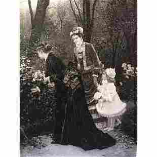 1880's Photogravure, Ladies with Child in a Garden