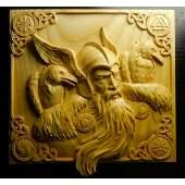 Viking God Odin & Ravens Carved Wooden Plaque