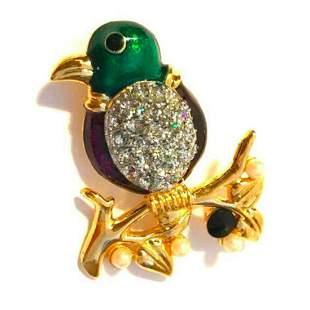 Enamel & Crystal Bird Brooch Pin