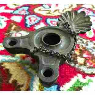 19thc Grand Tour Bronze Roman Hanging Oil Lamp