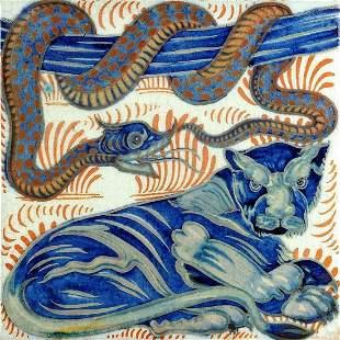 After William De Morgan, Lion Snake Ceramic Art Tile