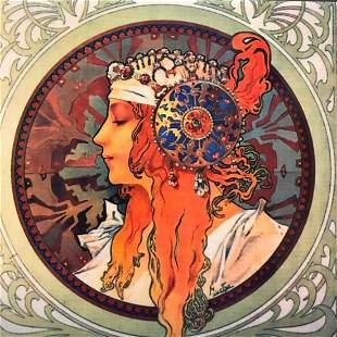After Mucha, Art Nouveau Style Ceramic Art Tile