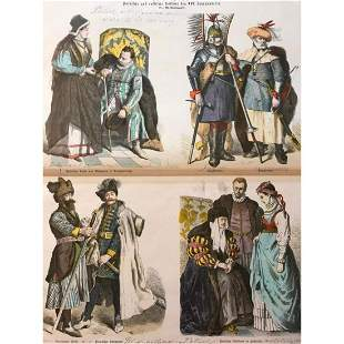 Rare 19thc Hand-colored Engravings, 16thc Russian &